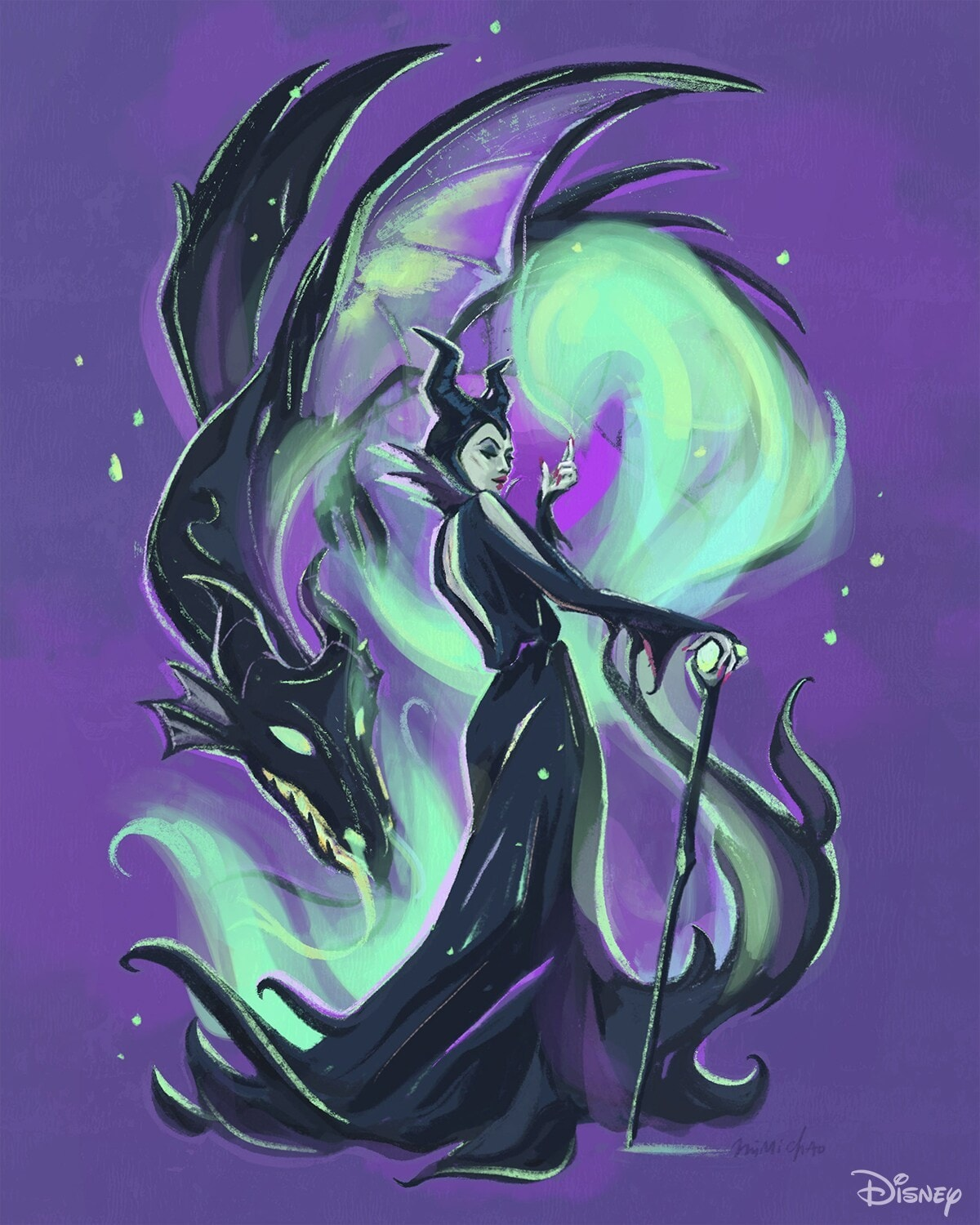 Maleficent with a dragon