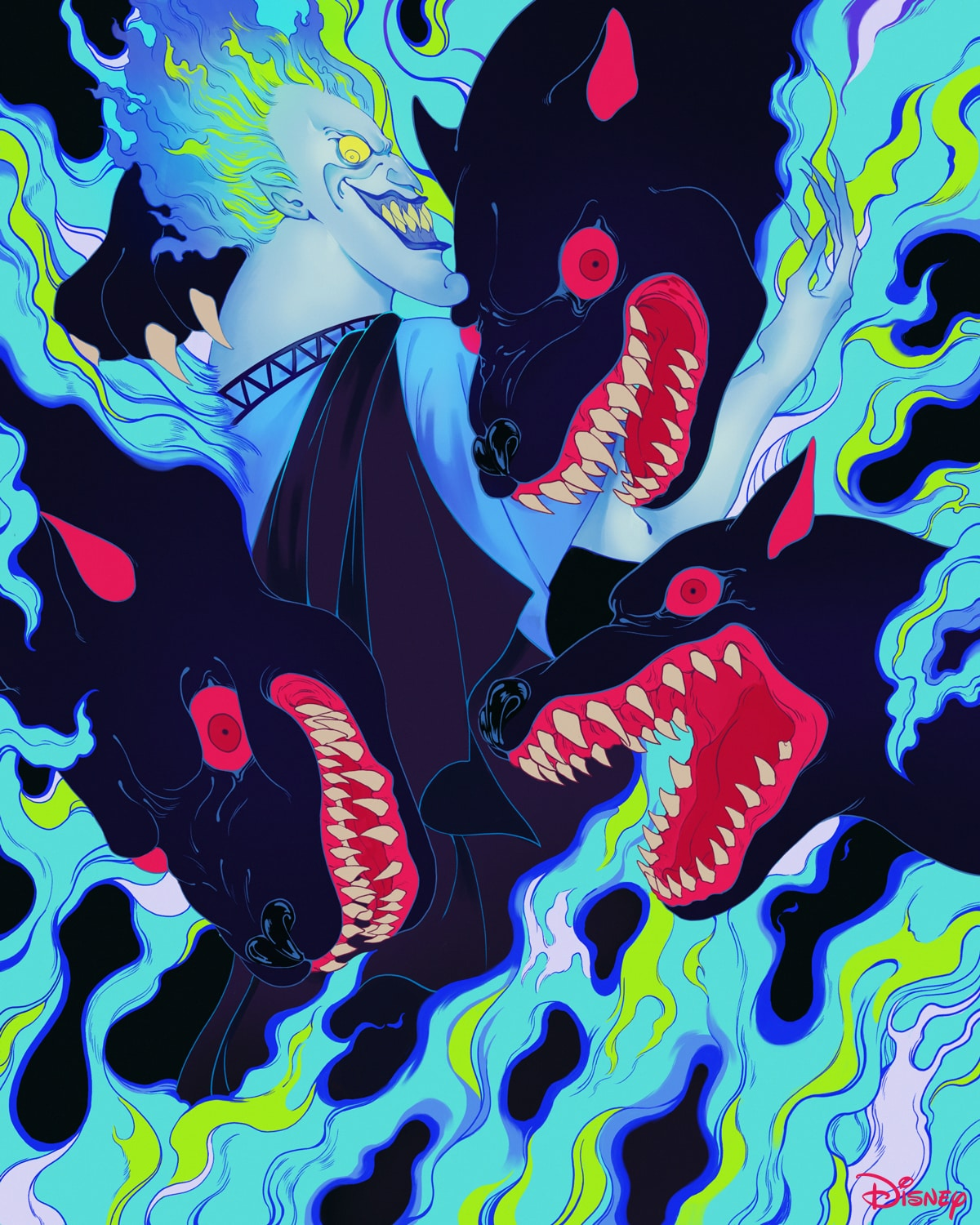 Hades with Cerberus engulfed in blue and green flames