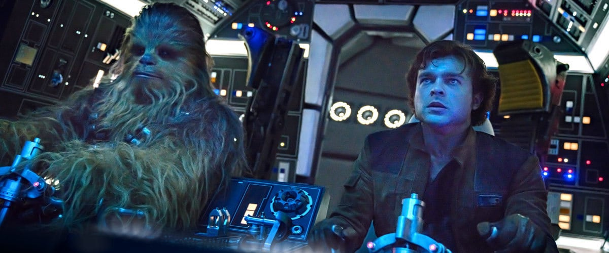 Chewbacca and Han Solo piloting the Millennium Falcon