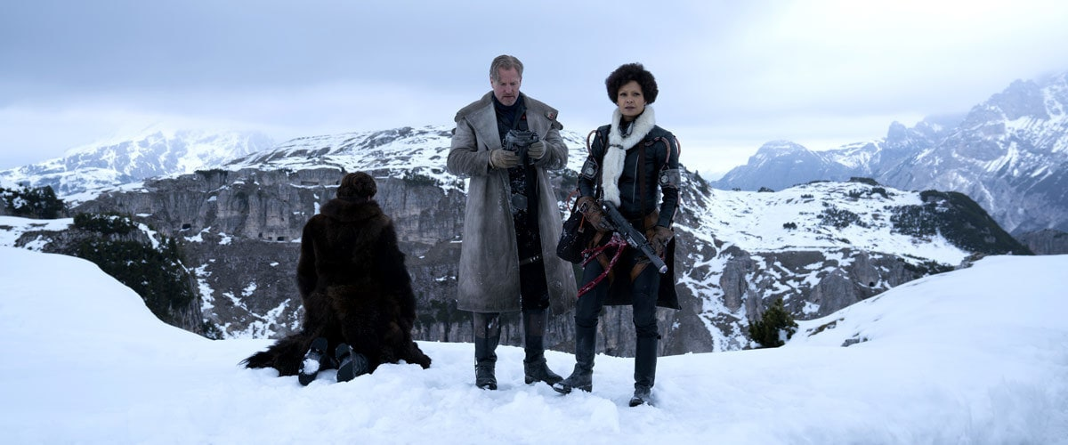 Val, Beckett, and Han Solo on Vandor