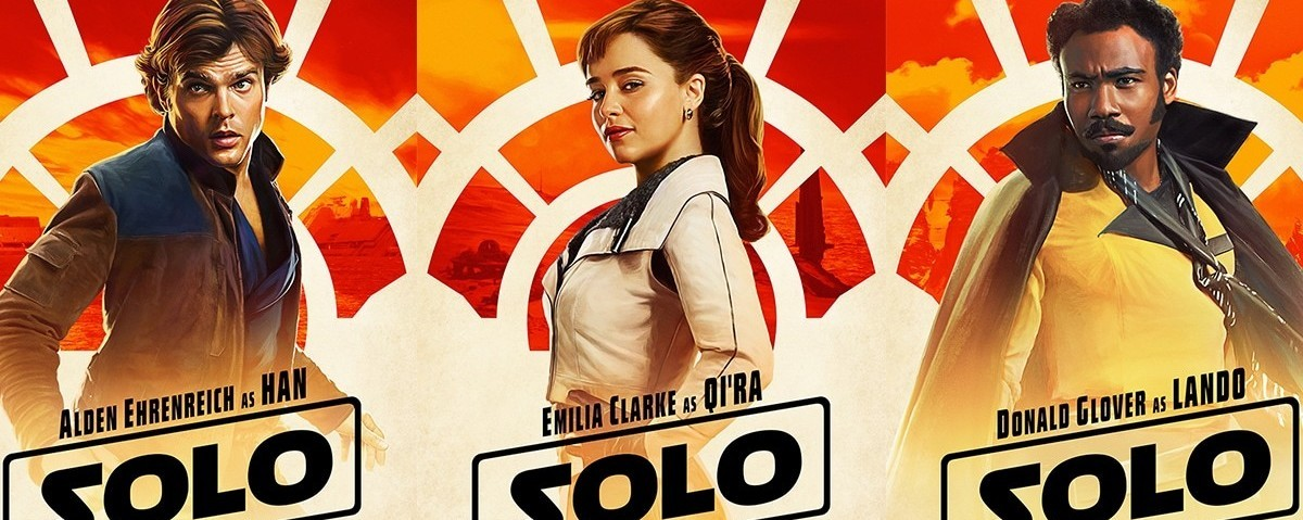 3 images of characters from Solo: A Star Wars story against a bright red and orange graphic background: Han Solo, Qi'ra, and Lando