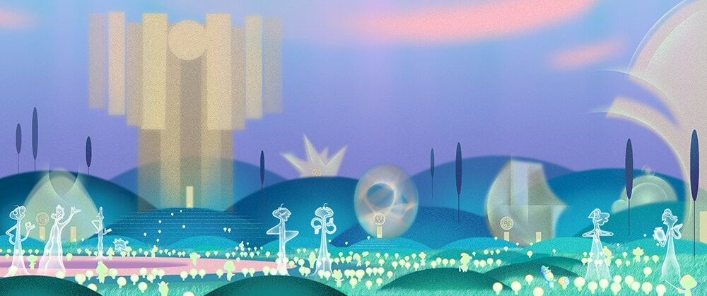 Concept art of a realm from Pixar's Soul. There's a dreamy feel with lots of purples and blues in an outdoor scene.