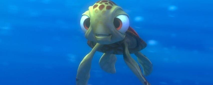 "A sea turtle from the animated movie ""Finding Nemo"""