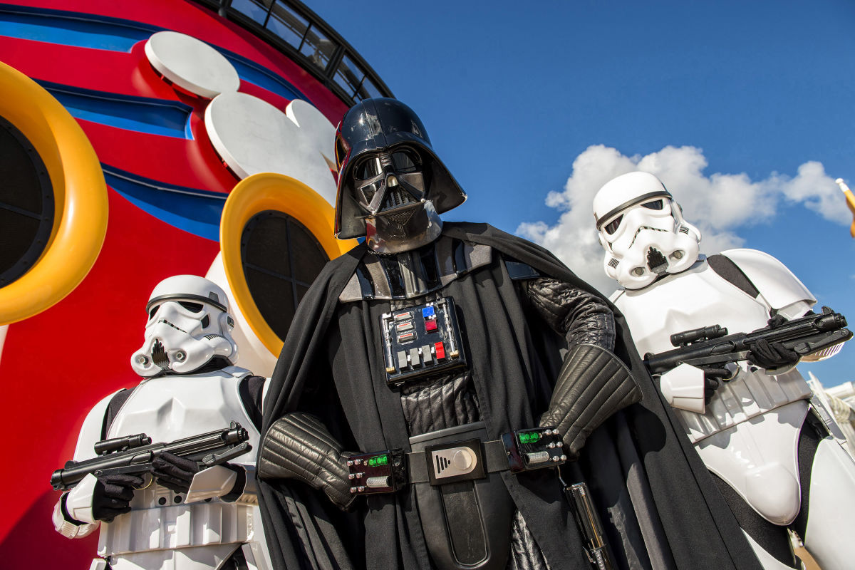Darth Vader and two Storm Troopers on Disney Cruise Ship from Star Wars day at Sea