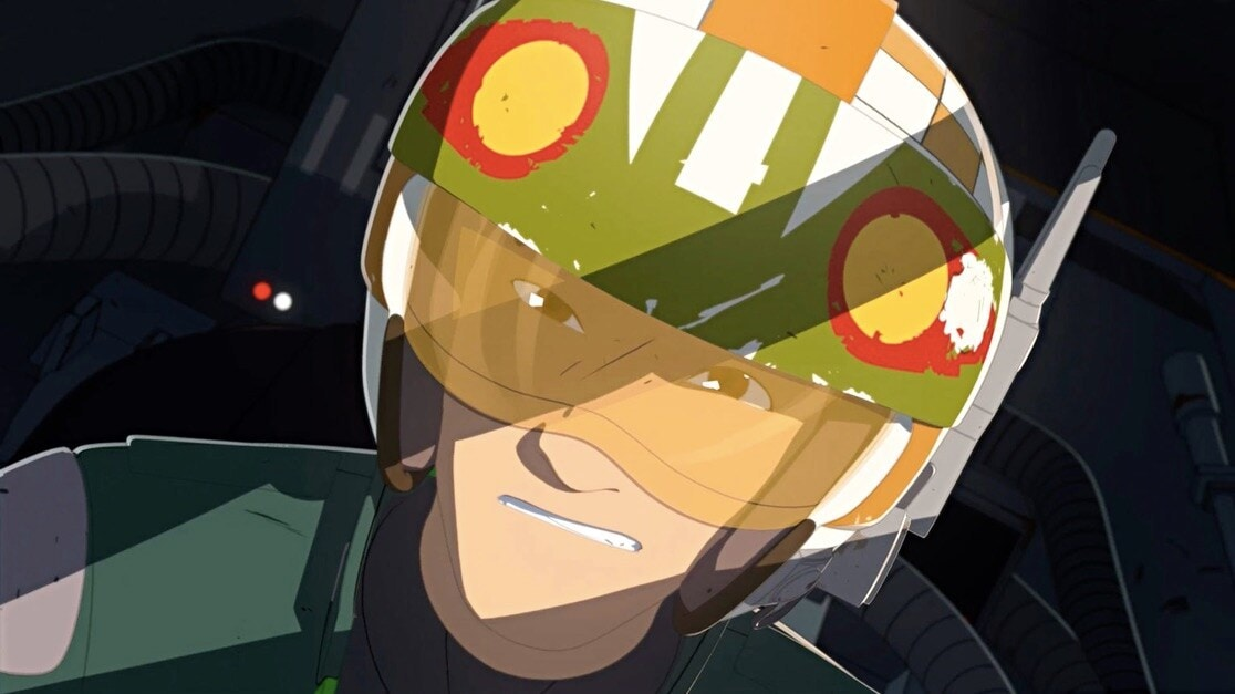Kazuda Xiono wearing a resistance helmet with orange visor