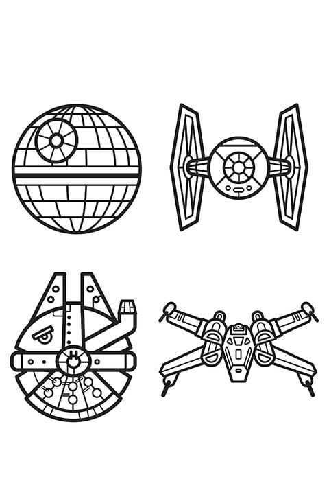 Star wars characters as emojis colouring sheet