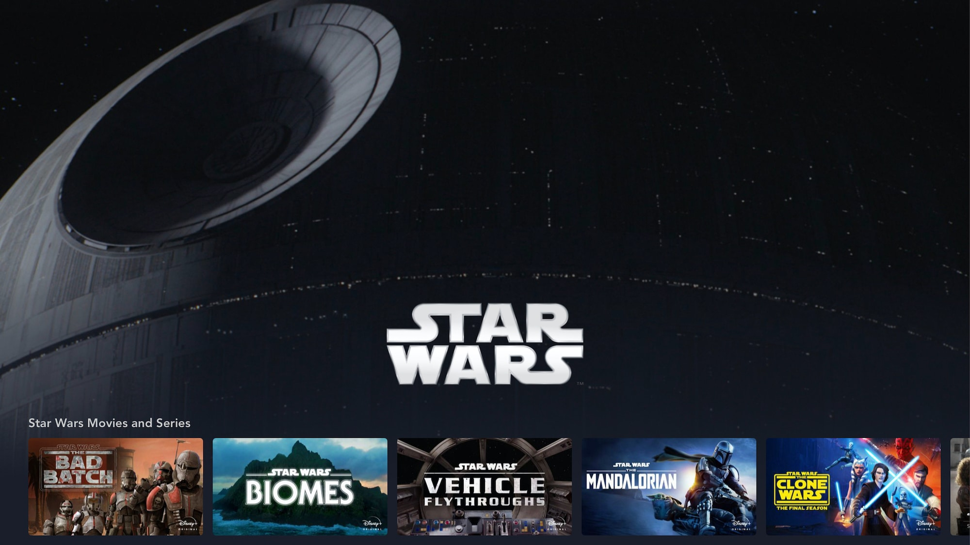 Star Wars Brand Landing Page on Tablet