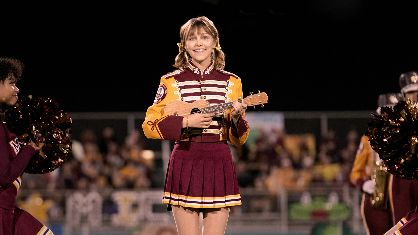 Actor Grace VanderWaal plays the ukulele as Stargirl