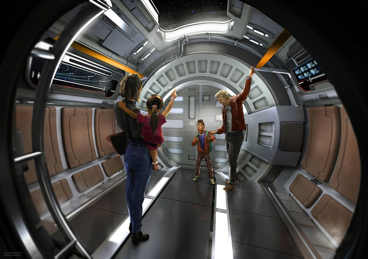 Star Wars Resort Concept Art family onboard interior of a space ship