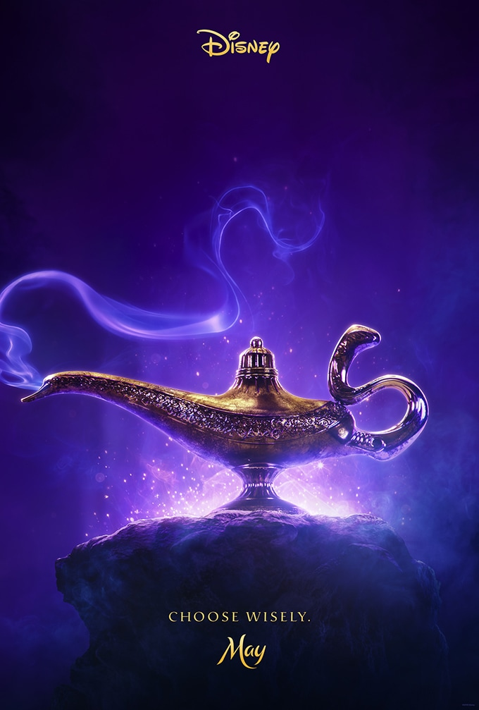 Disney Aladdin poster; Choose Wisely, May Aladdin's lamp with blue smoke coming out