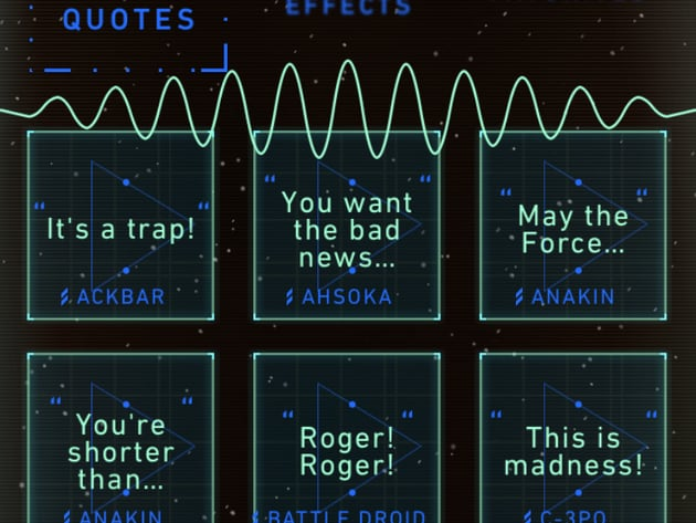 Classic quotes, sound effects and more (iOS shown).