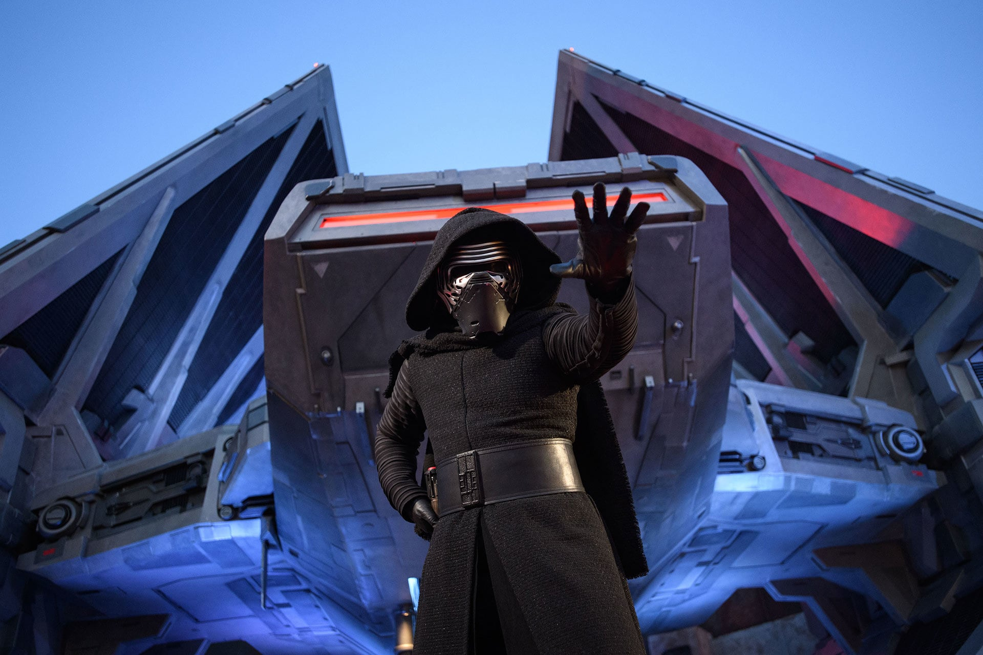 Kylo Ren casts an ominous shadow at Black Spire outpost.