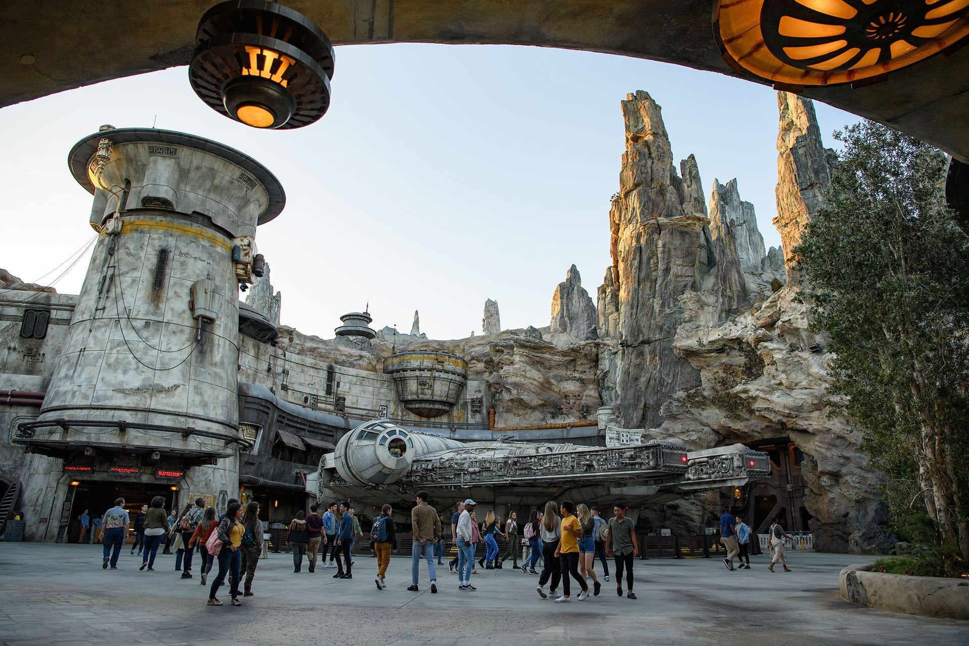 At Black Spire Outpost, a village on the planet of Batuu, Guests will discover two signature attractions. Millennium Falcon: Smugglers Run (pictured), available opening day, and Star Wars: Rise of the Resistance, opening later this year.