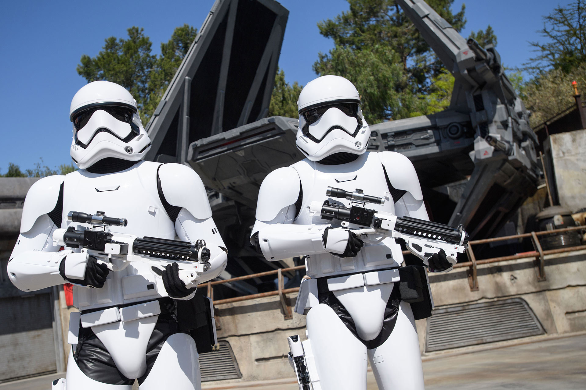 First Order stormtroopers patrol the grounds at Black Spire Outpost.
