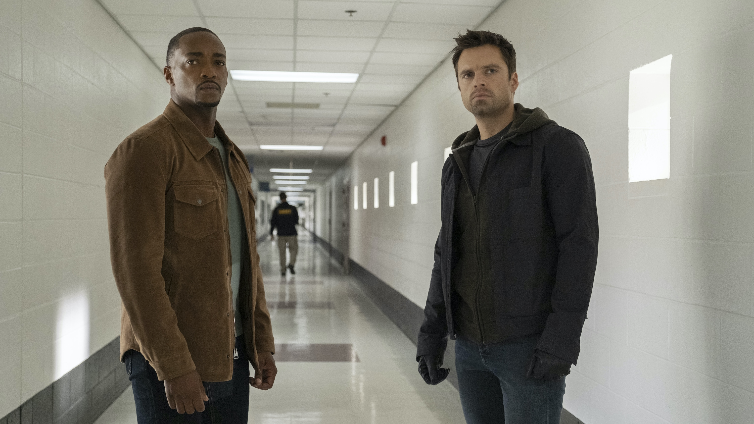 (L-R): Falcon/Sam Wilson (Anthony Mackie) and Winter Soldier/Bucky Barnes (Sebastian Stan) in Marvel Studios' THE FALCON AND THE WINTER SOLDIER exclusively on Disney+. Photo by Chuck Zlotnick. ©Marvel Studios 2020. All Rights Reserved.