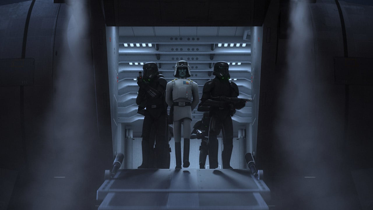 Death troopers escorting Grand Admiral Thrawn