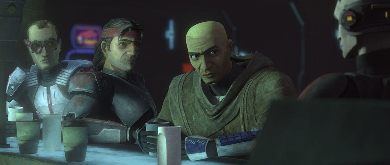 Rex talking with Hunter, Tech, and Echo
