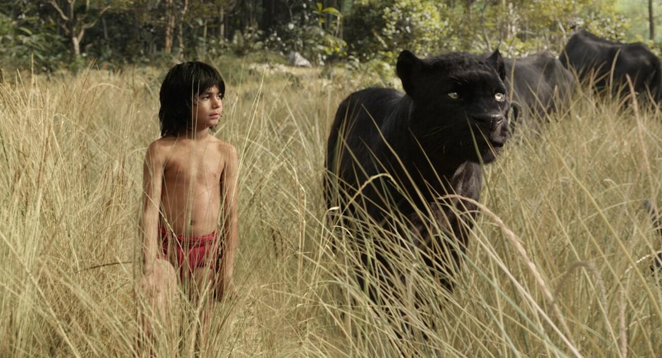 "Mowgli (Neel Sethi) & Bagheera (Ben Kingsley) in ""The Jungle Book"""