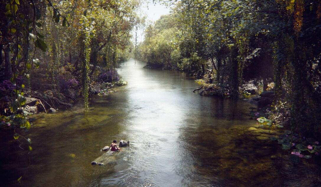 "Mowgli (Neel Sethi) & Baloo (Bill Murray) floating down a river in ""The Jungle Book"""