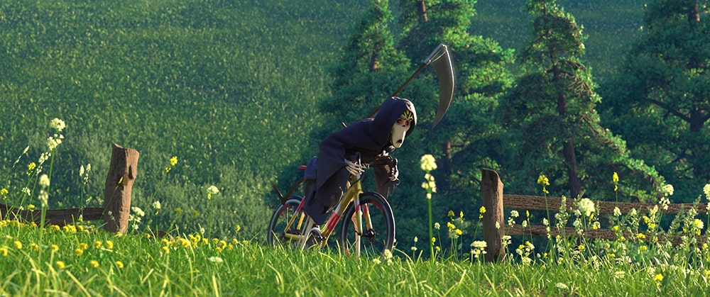 Grim reaper riding a bike in a green meadow
