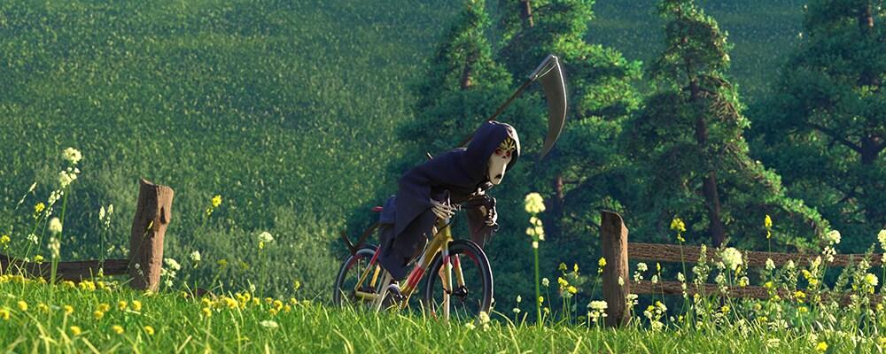 Grim Reaper riding a bike in a green meadow