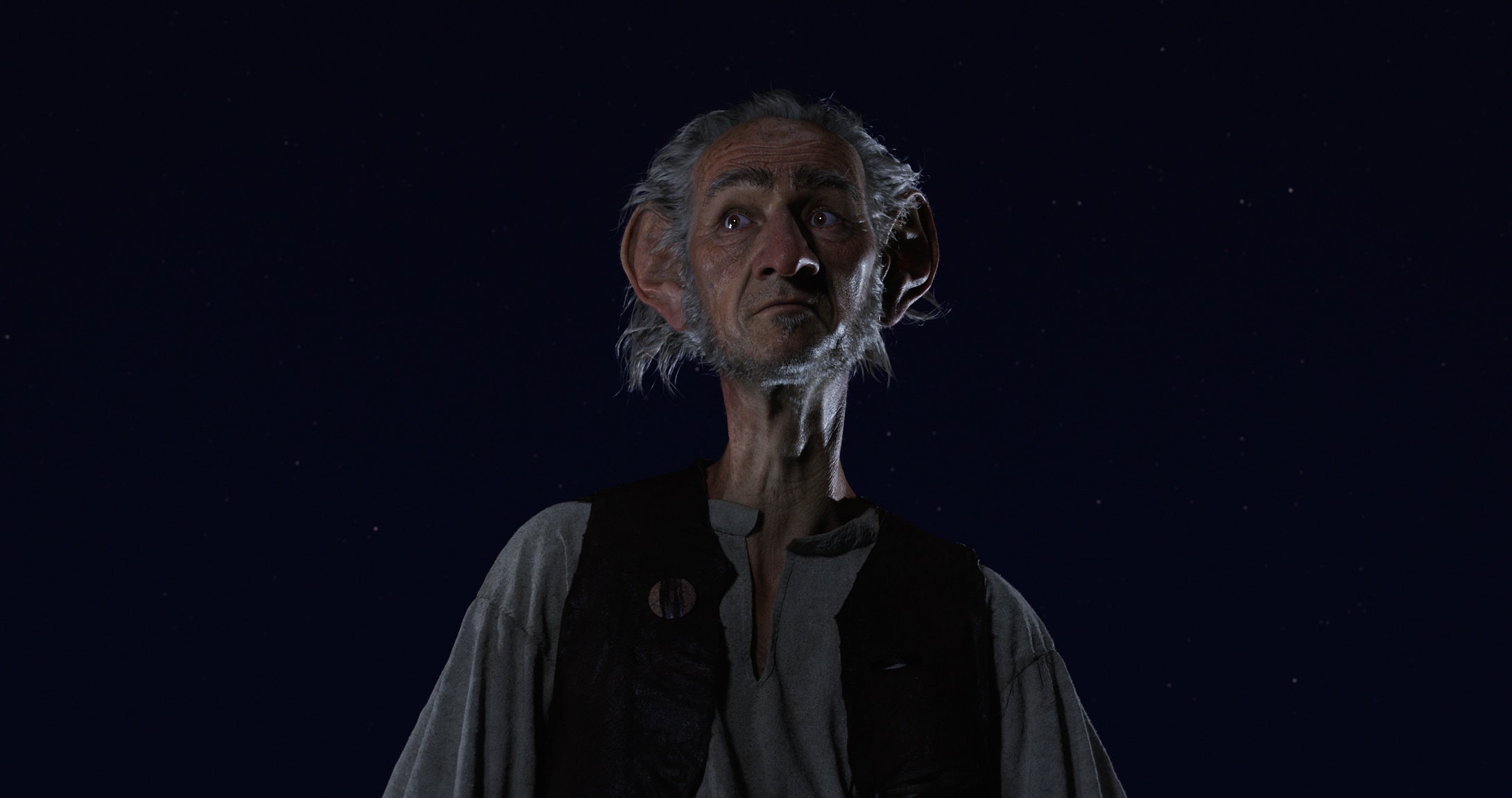 """Close-up image of The BFG (played by actor Mark Rylance) in the movie """"The BFG"""""""