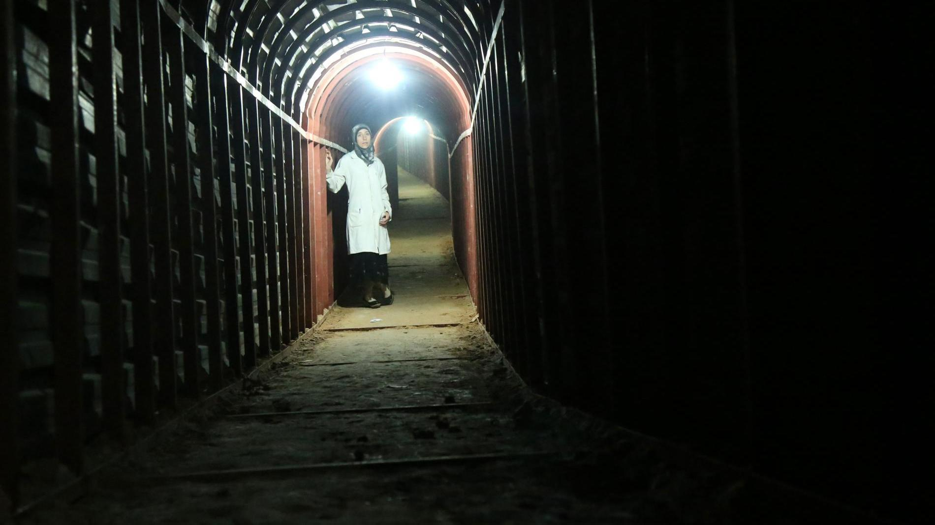 Al Ghouta, Syria - Dr. Amani in the underground tunnels. (Photo by National Geographic)
