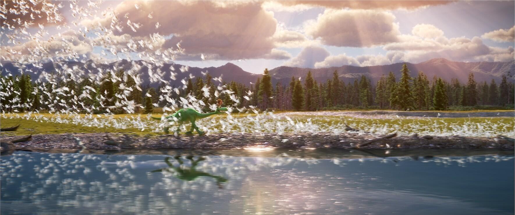"Raymond Ochoa (Aldo) walks through a flock of birds in ""The Good Dinosaur"""