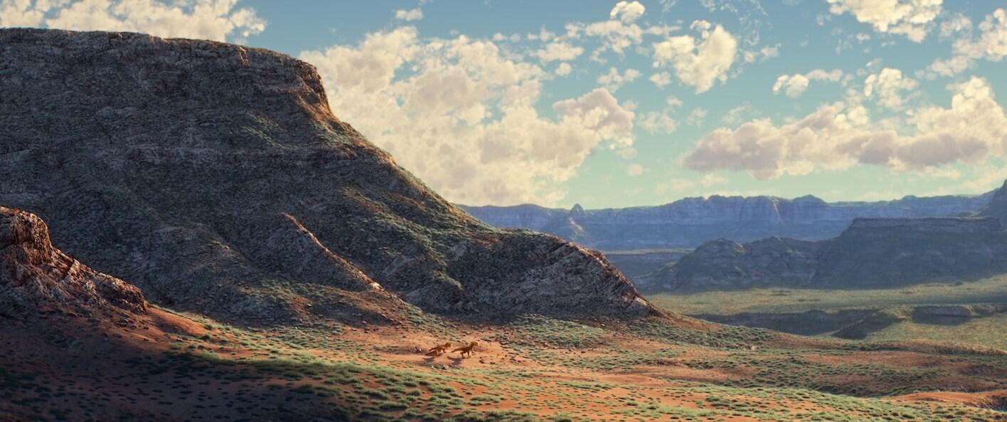 "Sam Elliott (Butch), Anna Paquin (Ramsey), A.J. Buckley (Nash) walking through the canyons in ""The Good Dinosaur"""