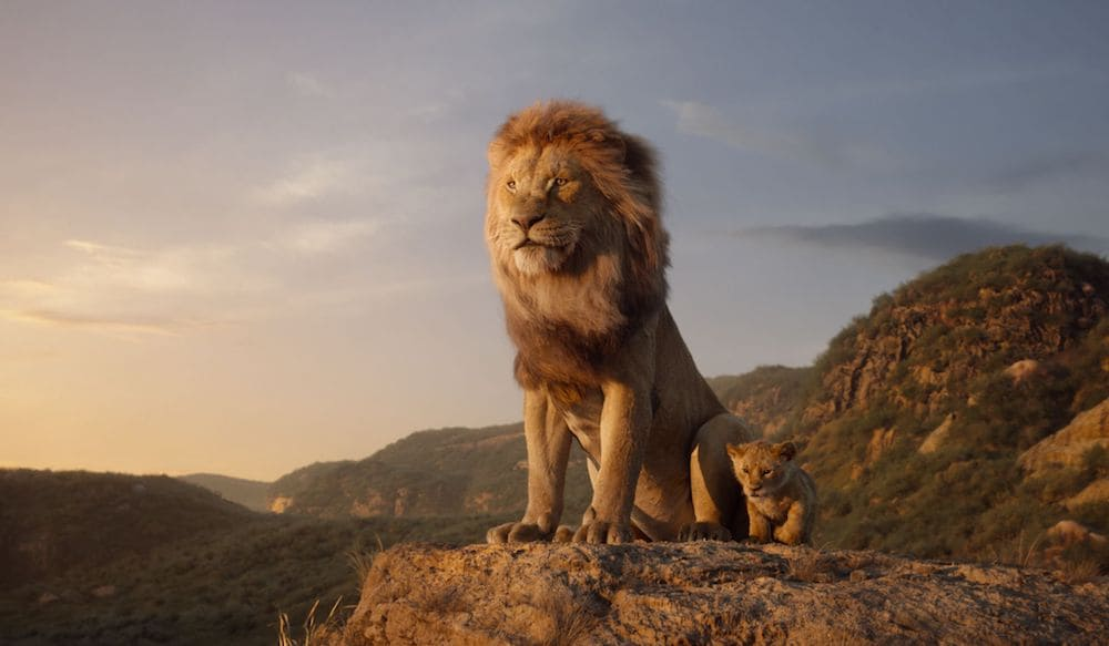Mufasa and Simba sitting on a rock