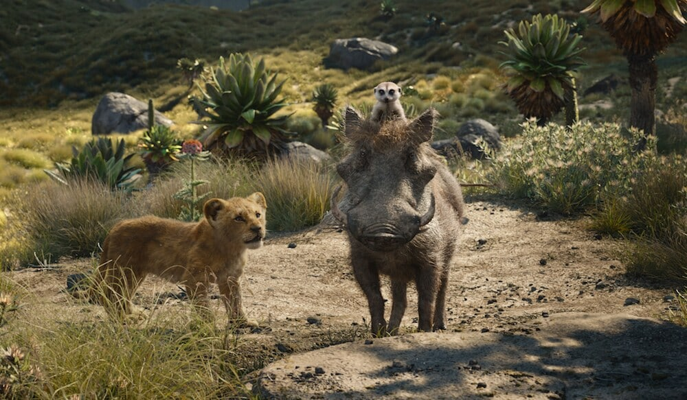 Simba with Timon and Pumba - Live action The Lion King (2019)