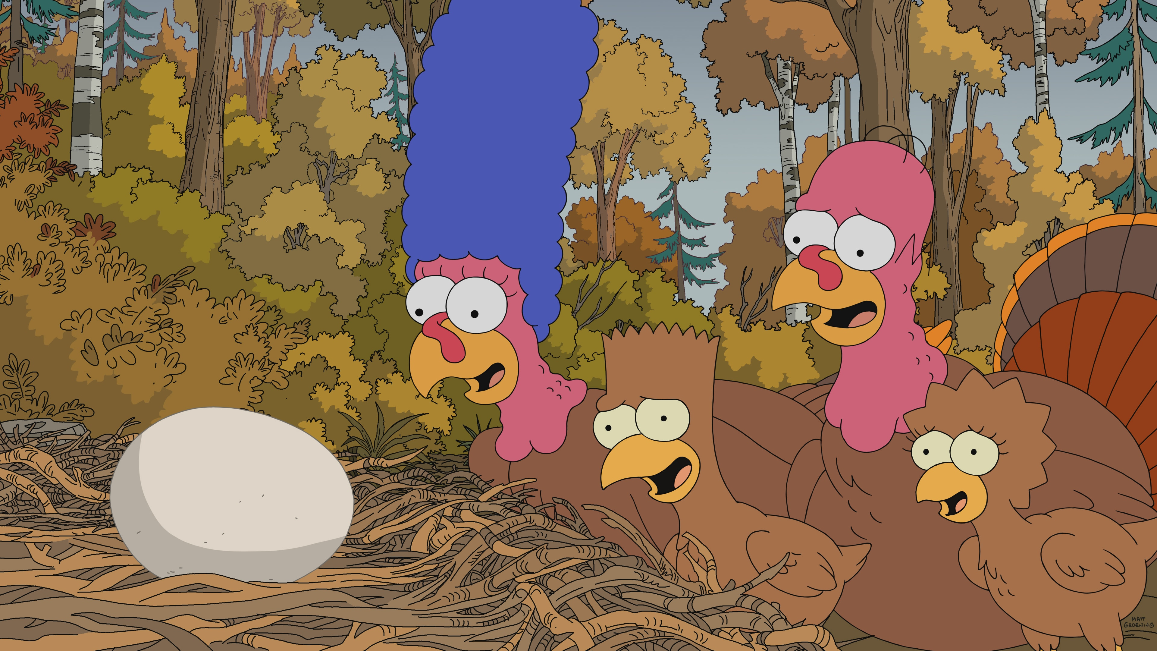 """THE SIMPSONS: In a special Thanksgiving edition of """"Treehouse of Horror,"""" the Simpsons are forced to face various Thanksgiving nightmares, including the first Thanksgiving, an A.I. mishap and a dangerous space mission complicated by a sentient cranberry sauce in the """"Thanksgiving of Horror"""" episode of THE SIMPSONS."""