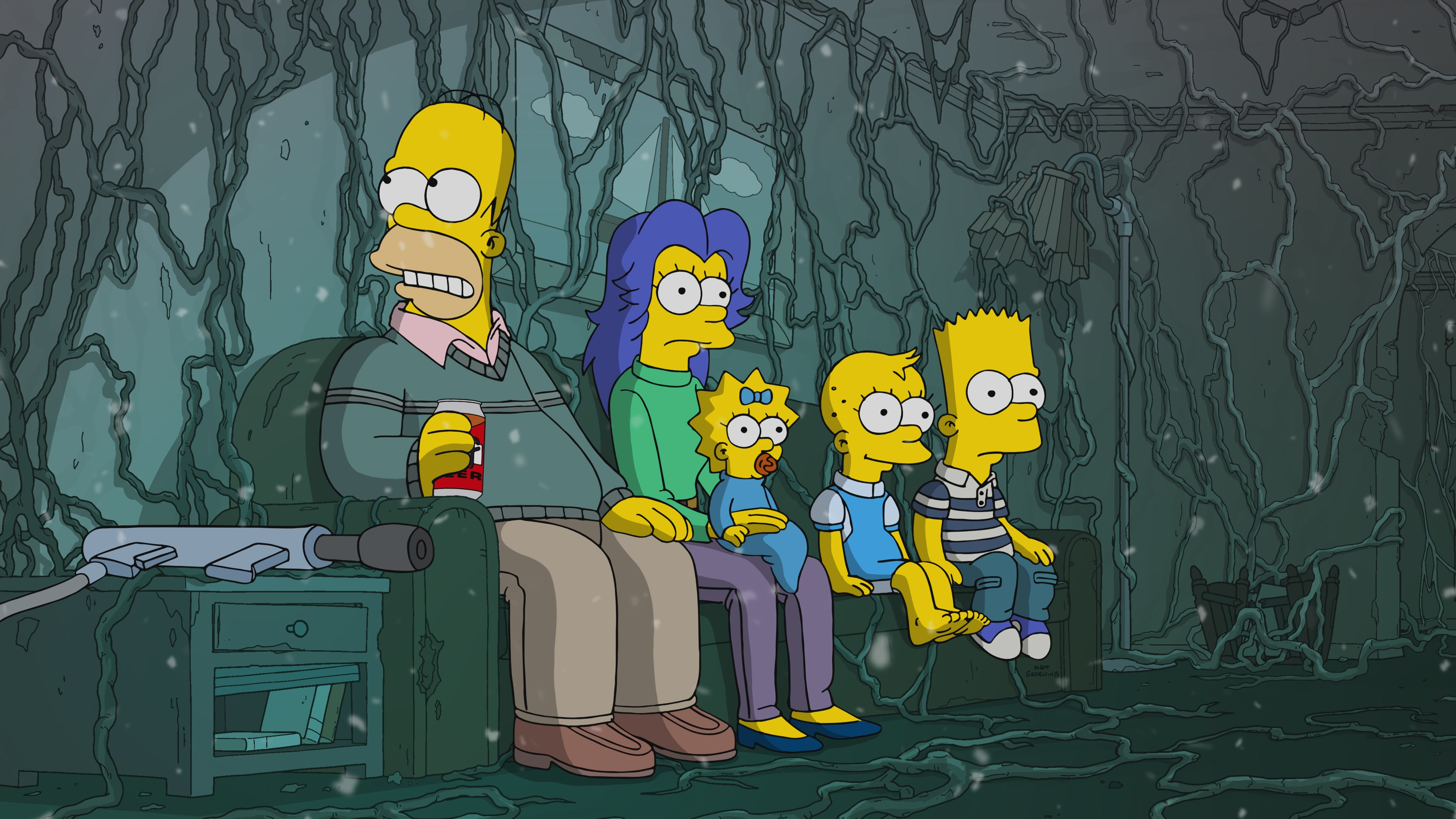 """THE SIMPSONS: The 30th Treehouse of Horror features a demon Maggie, a mission to rescue Milhouse from another dimension, dead-Homer's spirit trying on some new bodies for size and Selma finally finding love in an unlikely place – the alien in the basement. Don't miss the """"Treehouse of Horror XXX"""" episode of THE SIMPSONS."""
