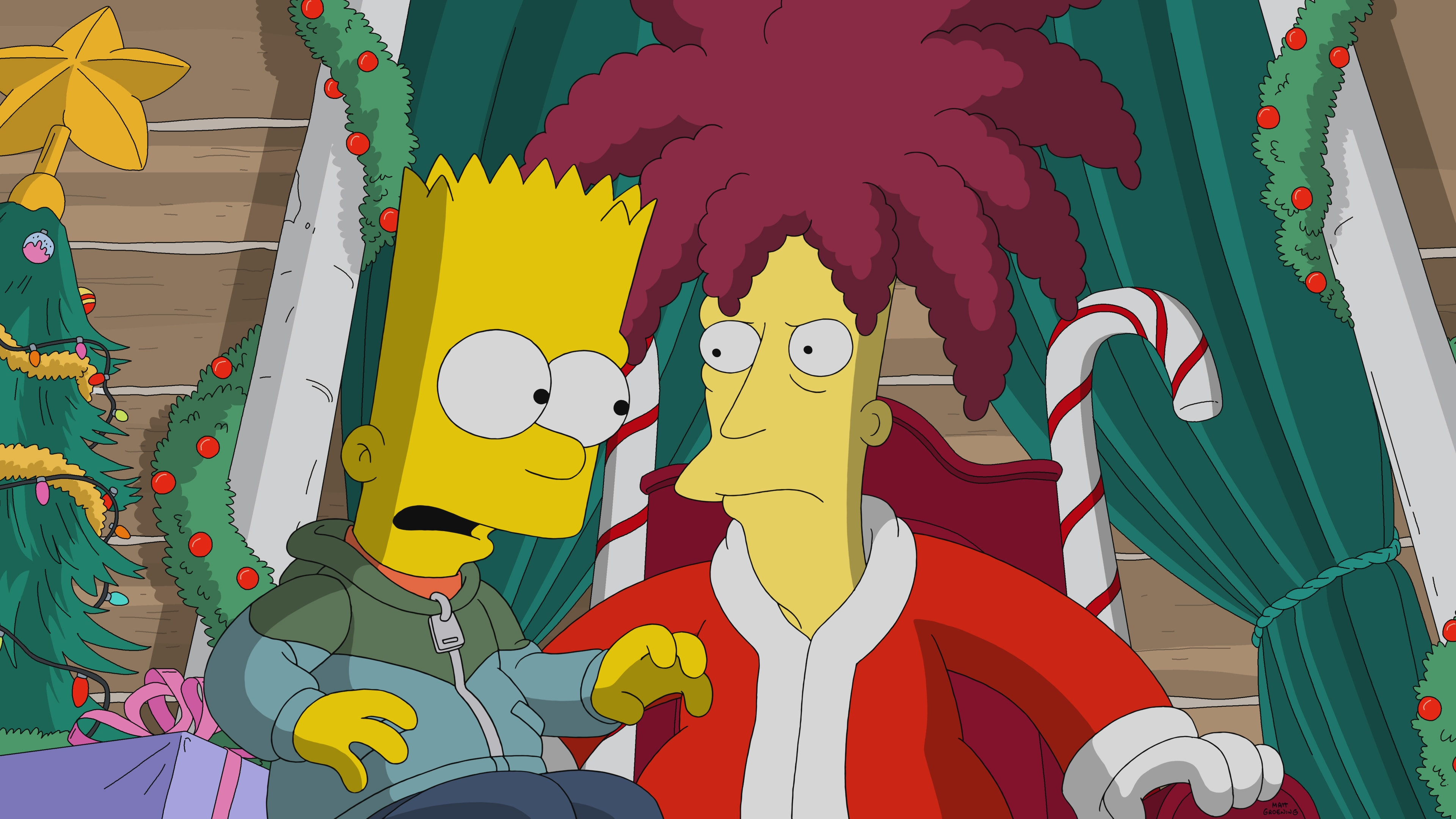 """THE SIMPSONS: Sideshow Bob gets contracted as this year's mall Santa. Meanwhile, someone is stealing all the Christmas packages off people's front porches in the """"Bobby, It's Cold Outside"""" holiday episode of THE SIMPSONS."""