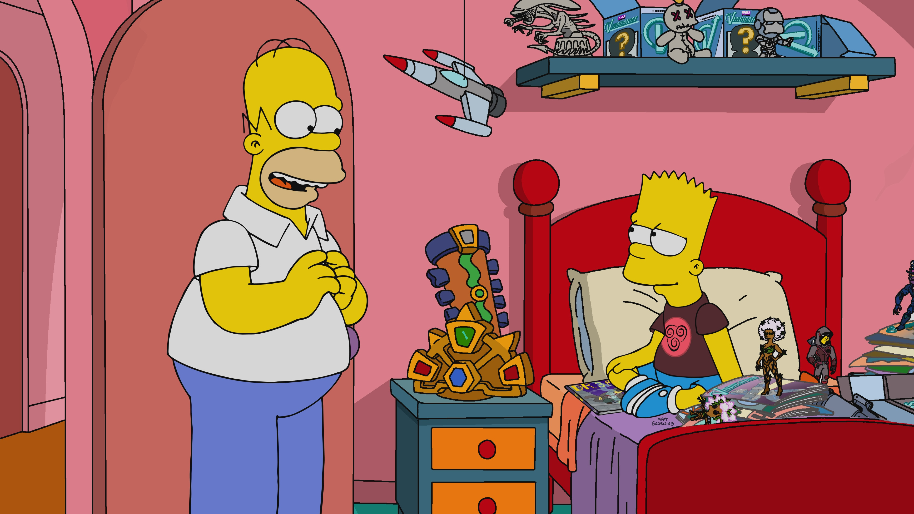 """THE SIMPSONS: Bart accidentally sees a brand-new superhero movie a month before it comes out… and the world cowers before his newfound plot-spoiling powers. Thus, a new super-villain is born: Spoiler Boy! Can heroic movie executives stop Bart before he succumbs to the temptations of ultimate evil? Find out in the """"Bart the Bad Guy"""" episode of THE SIMPSONS."""