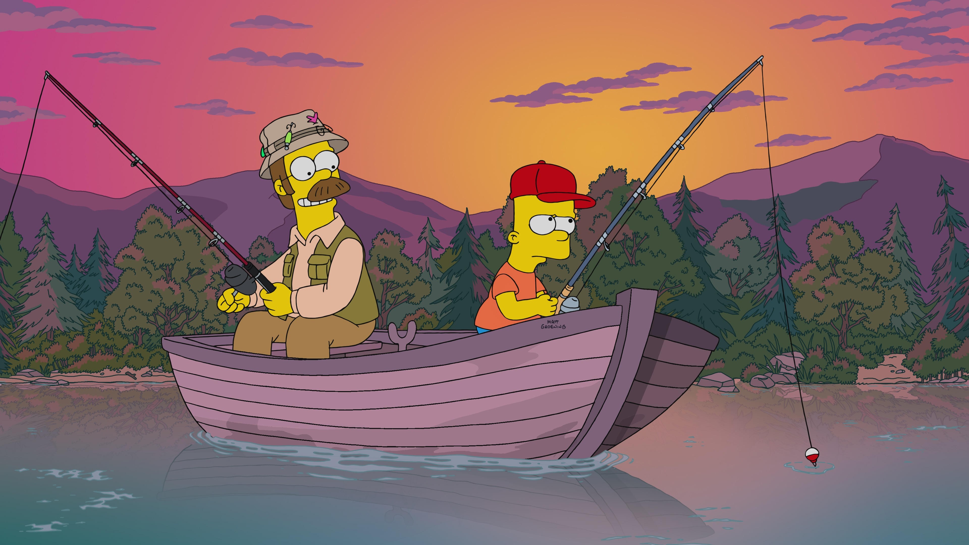 """THE SIMPSONS: Bart bonds with Ned Flanders, which leaves Homer jealous, so he retaliates by mentoring Nelson Muntz. Then, a heroic act by Homer makes Bart look up to him again in the """"Better Off Ned"""" episode of THE SIMPSONS."""