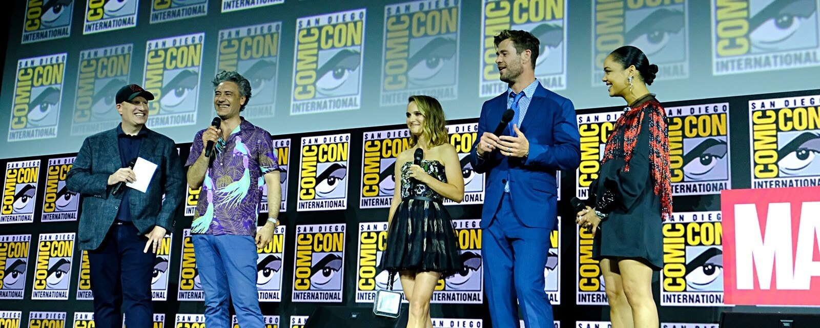 Kevin Feige with Thor love and thunder cast