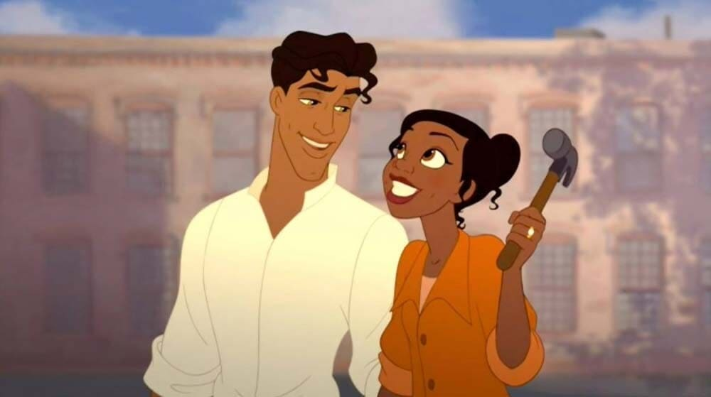 "Animated characters Prince Naveen and Princess Tiana from the film ""The Princess and the Frog"""