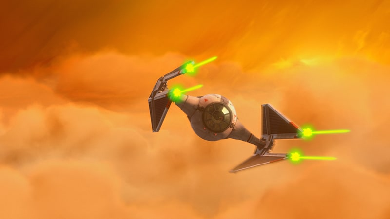 TIE Interceptor firing it's laser cannons