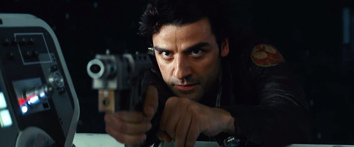 Poe Dameron aiming his blaster