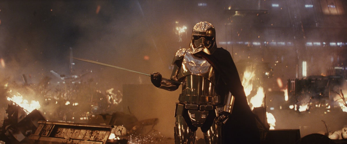 Captain Phasma wielding her baton aboard the First Order Dreadnaught 'Supremacy'