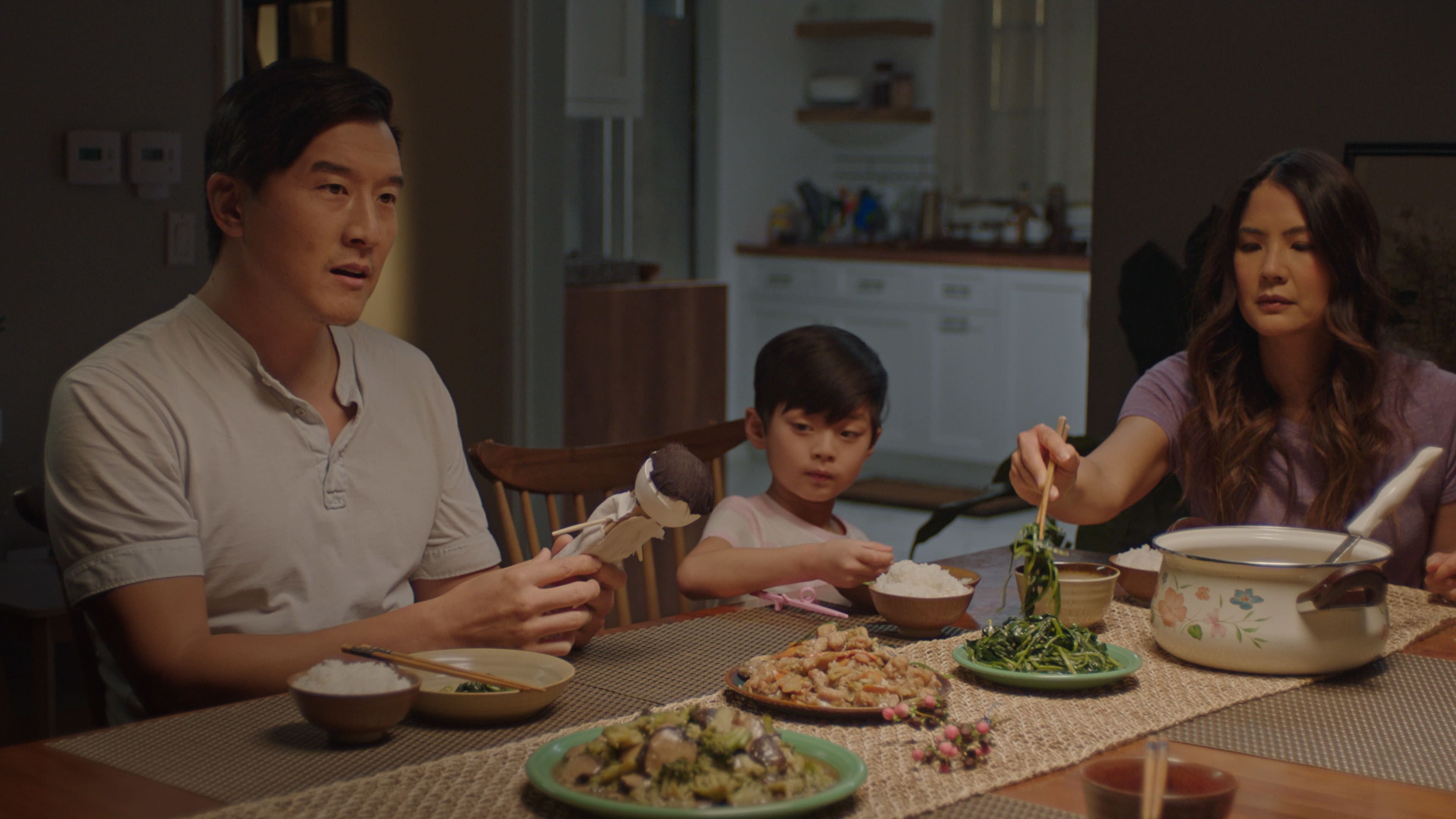 """(L-R): Brian Yang as Wang, Kalo Moss as Gabriel and Lynn Chen as Ann in Disney's """"LAUNCHPAD"""" Season One short, """"THE LITTLE PRINCE(SS),""""Written and Directed by Moxie Peng. Photo courtesy of Disney. © 2021 Disney Enterprises, Inc. All Rights Reserved."""