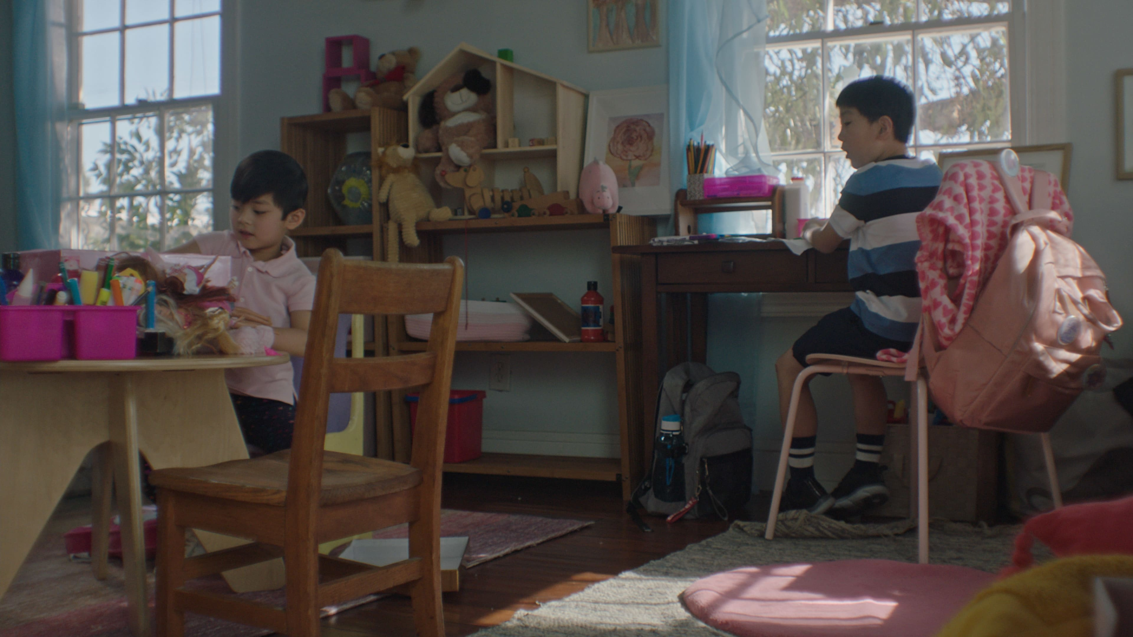"""(L-R): Kalo Moss as Gabriel and Ching Yin Ryan Hu as Rob in Disney's """"LAUNCHPAD"""" Season One short, """"THE LITTLE PRINCE(SS),""""Written and Directed by Moxie Peng. Photo courtesy of Disney. © 2021 Disney Enterprises, Inc. All Rights Reserved."""