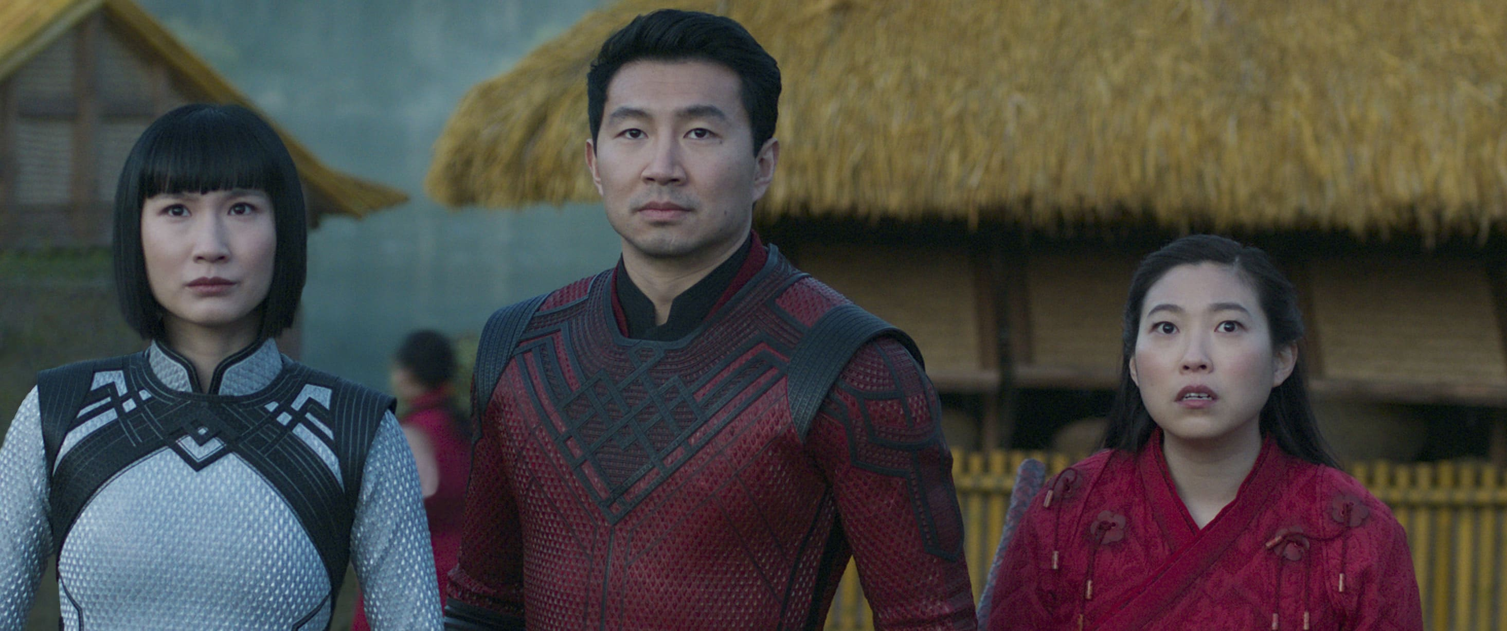 Meng'er Zhang as Xialing, Simu Liu as Shang-Chi, and Awkwafina as Katy in Marvel Studios' Shang-Chi and the Legend of the Ten Rings