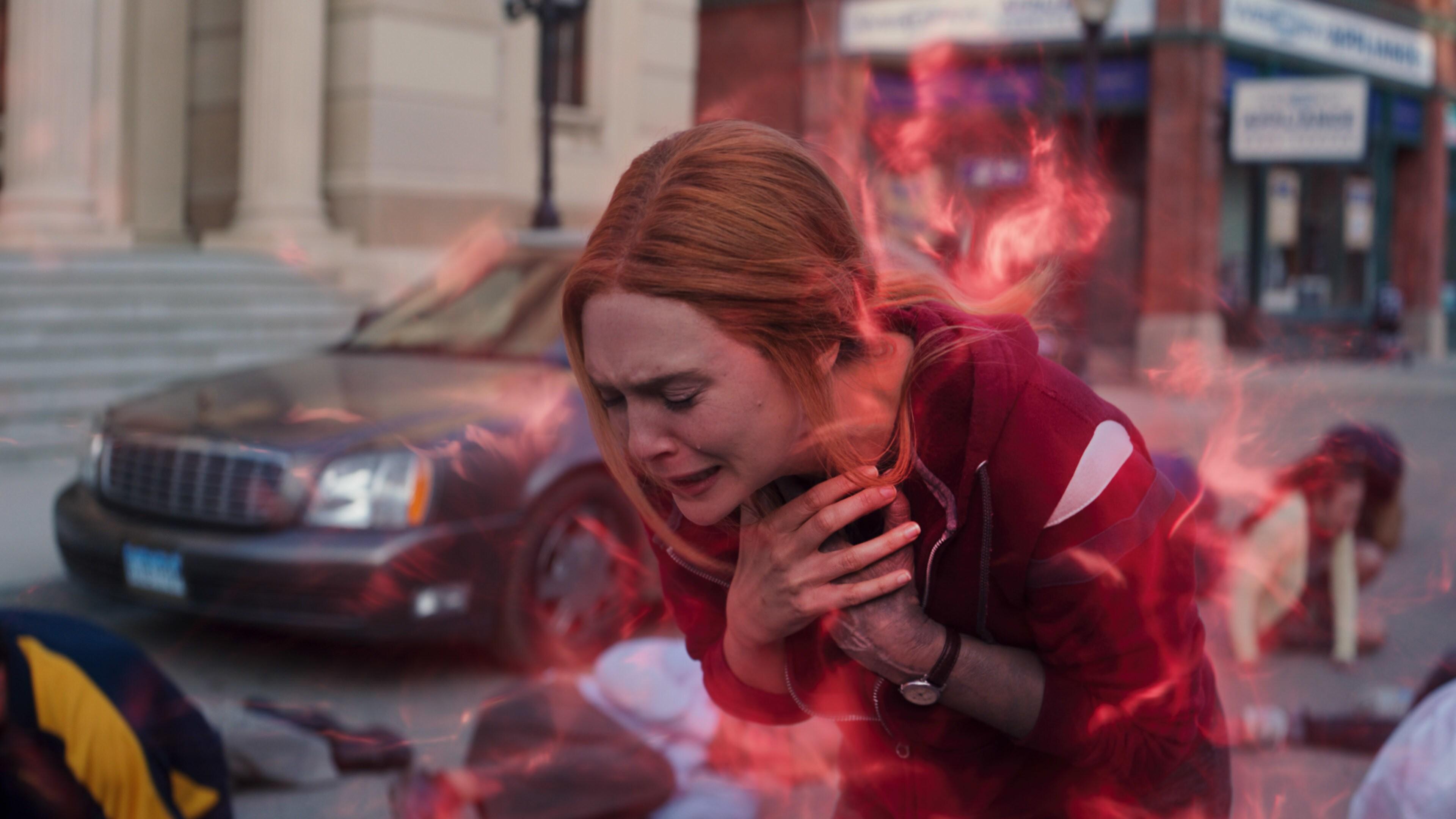 Elizabeth Olsen as Wanda Maximoff in Marvel Studios' WANDAVISION exclusively on Disney+. Photo courtesy of Marvel Studios. ©Marvel Studios 2021. All Rights Reserved.
