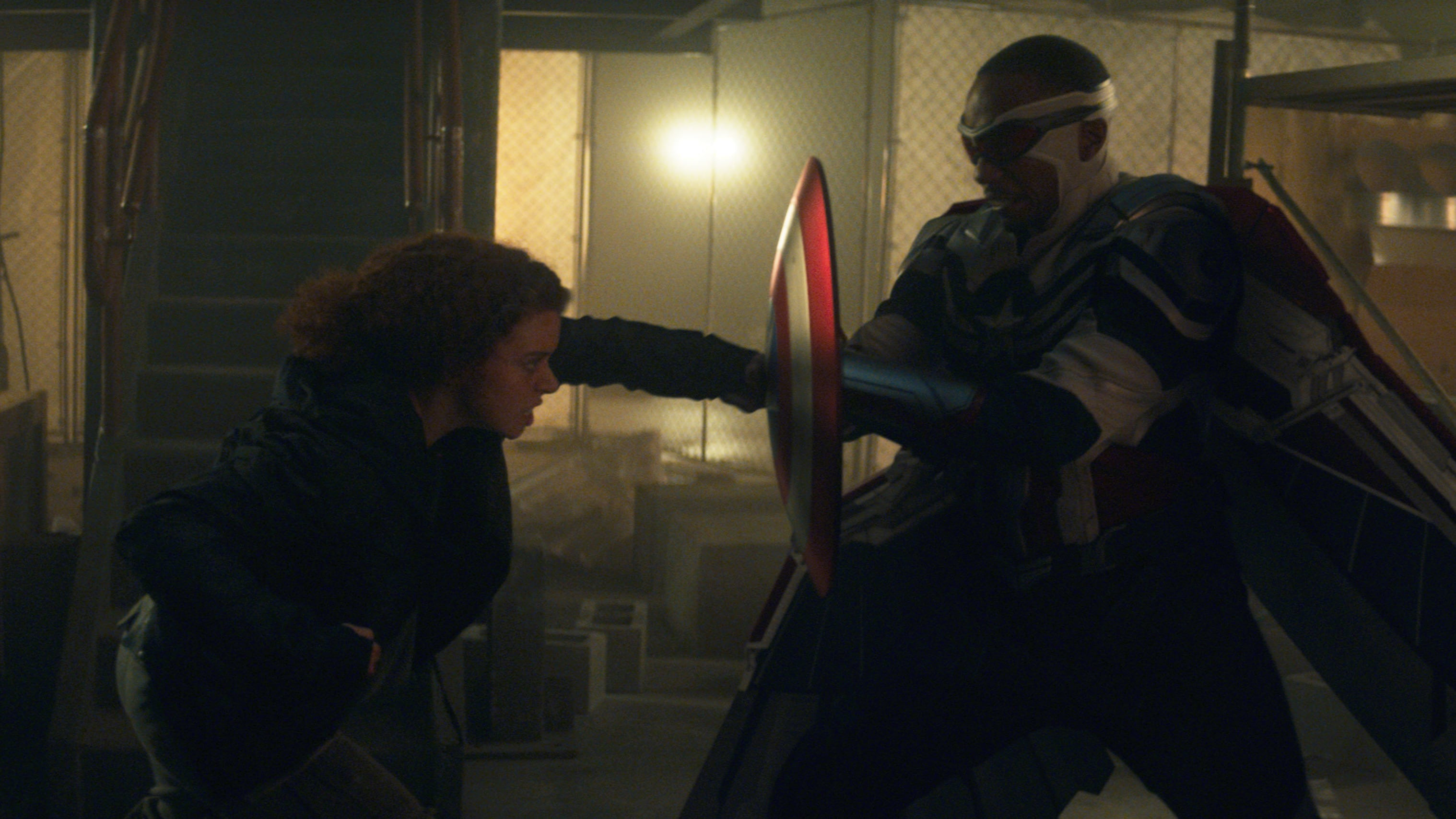 (L-R): Karli Morgenthau (Erin Kellyman) and Falcon/Sam Wilson (Anthony Mackie) in Marvel Studios' THE FALCON AND THE WINTER SOLDIER exclusively on Disney+. Photo courtesy of Marvel Studios. ©Marvel Studios 2021. All Rights Reserved.