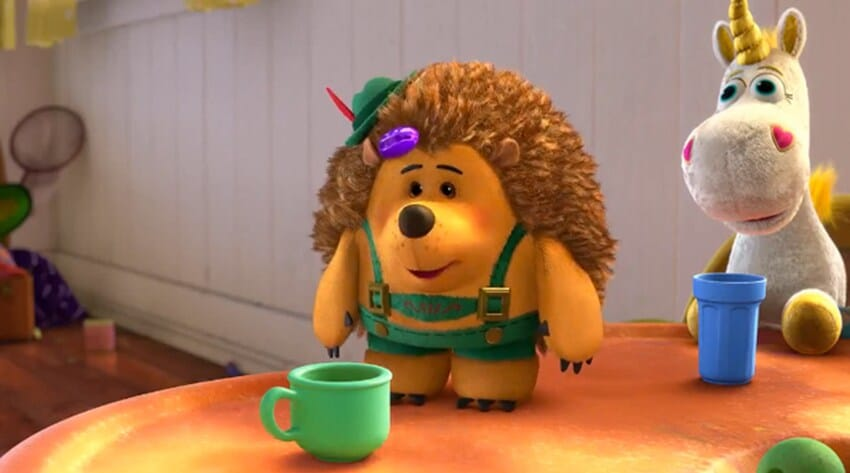 """Pricklepants and Buttercup at a table with cups from the animated movie """"Toy Story 3"""""""