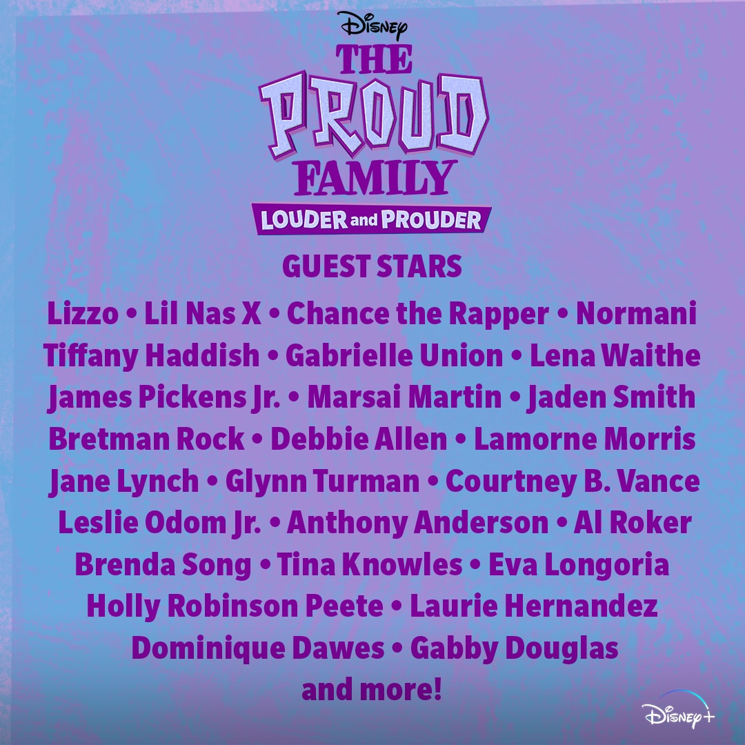 A list showing The Proud Family Guest Starts Reveal