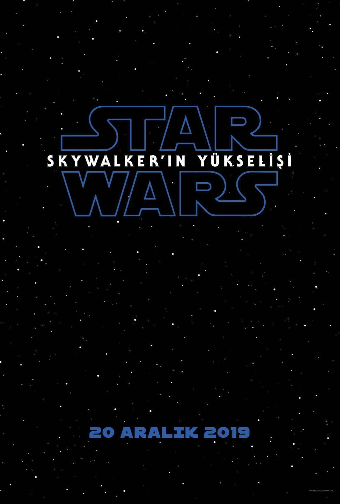 Αφίσα με μαύρο ουρανό, λευκά αστέρια και το λογότυπο από το Star Wars:Η Άνοδος τουSkywalker