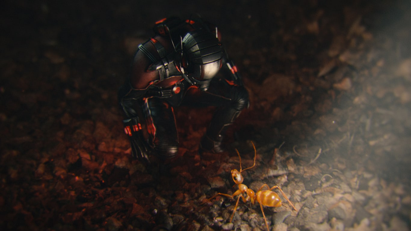 Ant-Man speaking to an ant in the movie Ant-Man